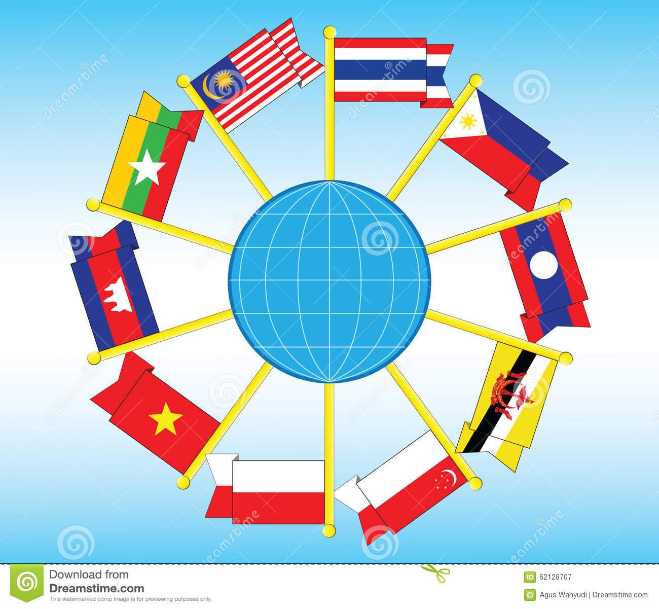 South East Asia Flag Illustration Stock Illustration.