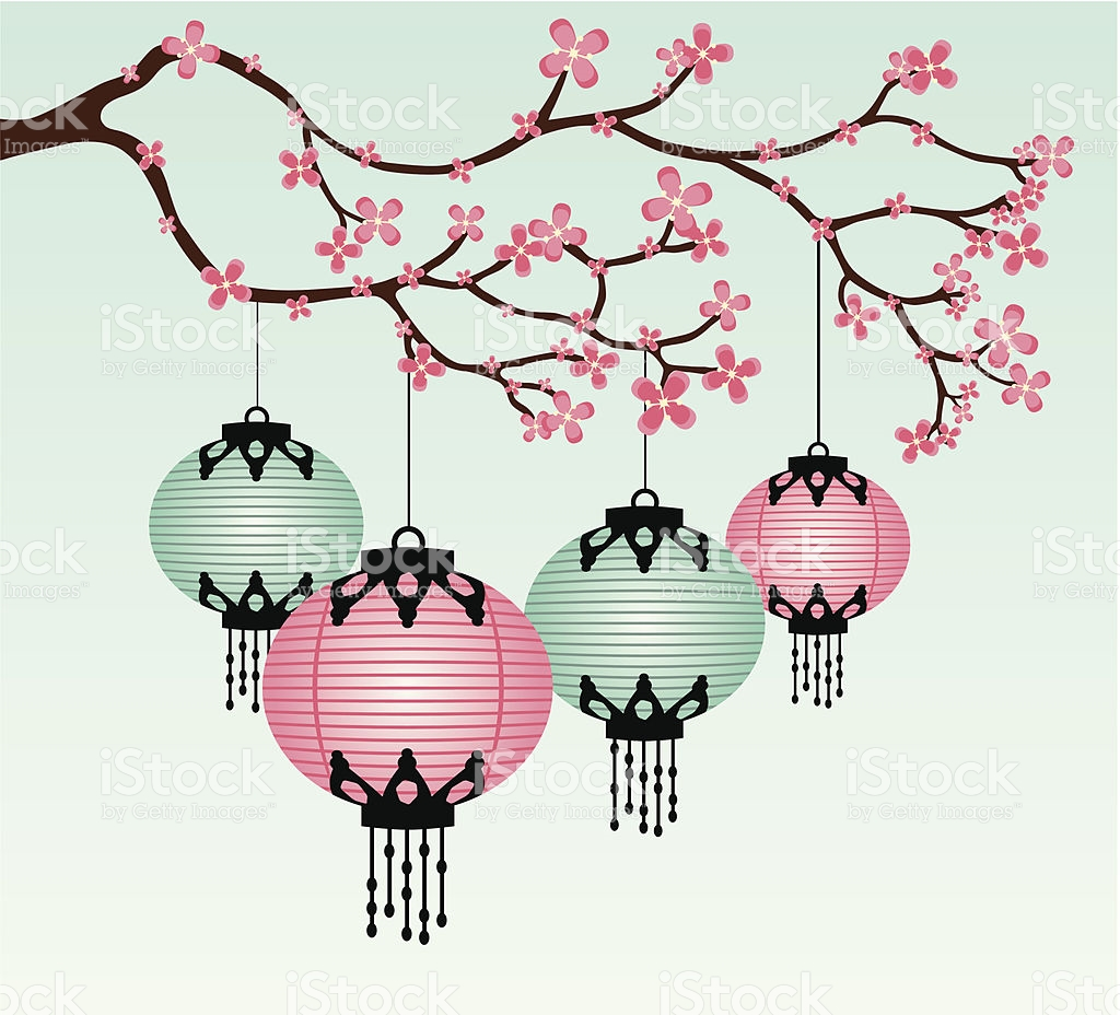 Chinese Lanterns And Cherry Blossoms stock vector art 165498149.