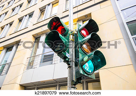 Stock Photograph of Traffic light in East Berlin, Germany.