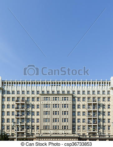 Stock Images of Facades of old socialist GDR era apartment.