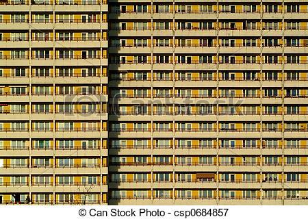 Picture of modern aparment building in east berlin, Plattenbau.