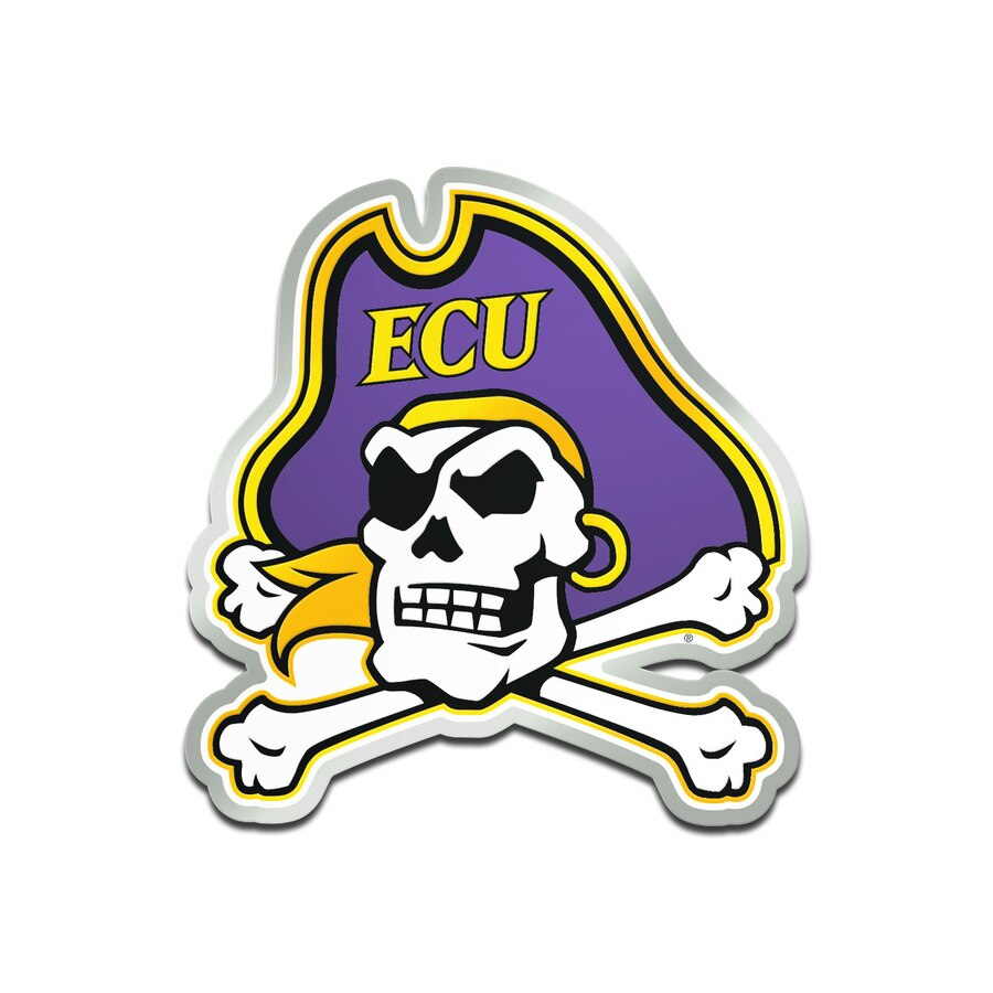 East Carolina Pirates Metallic Freeform Logo Auto Emblem.