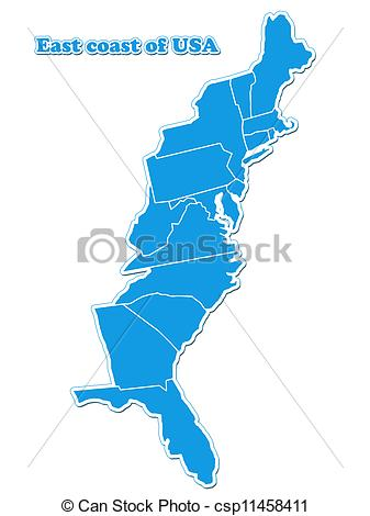 Clipart of USA east coast map isolated on white background.