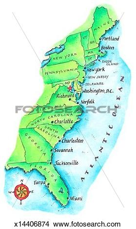 Drawings of Map of American East Coast x14406874.