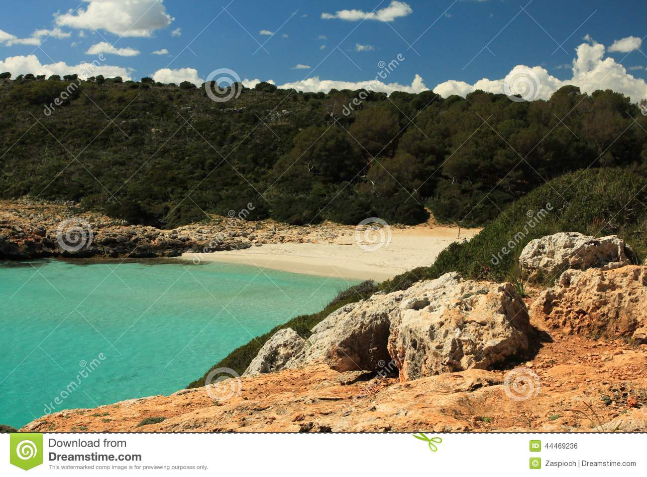 Cala Barques Natural Beach Stock Photo.