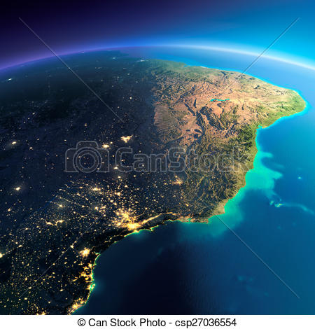 Stock Illustrations of Detailed Earth. East Coast of Brazil.