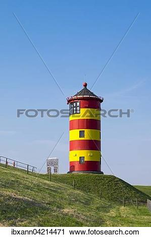 Stock Photography of Pilsum lighthouse, Pilsum, East Frisia, Lower.