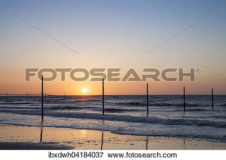 Picture of North Sea coast in the evening light, Wangerooge, East.