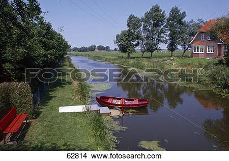 Stock Photo of Boat moored in canal, Wynhamster Kolk, Dollart.