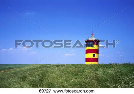 Picture of Lighthouse on grassy field, Pilsum, East Frisia, Lower.
