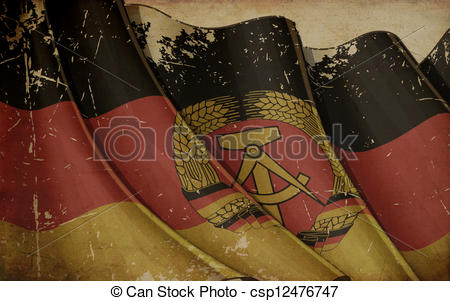 Drawing of East Germany Flag Old Paper.