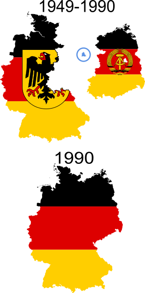 Flag of West Germany, Flag of East Germany, Unified flag.