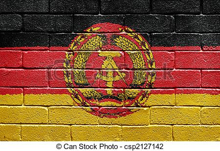 Clip Art of Flag of East Germany on brick wall.