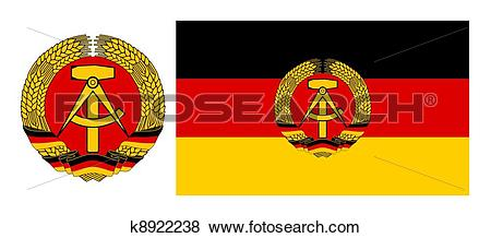 Stock Illustration of Flag and coat of arms east Germany k8922238.