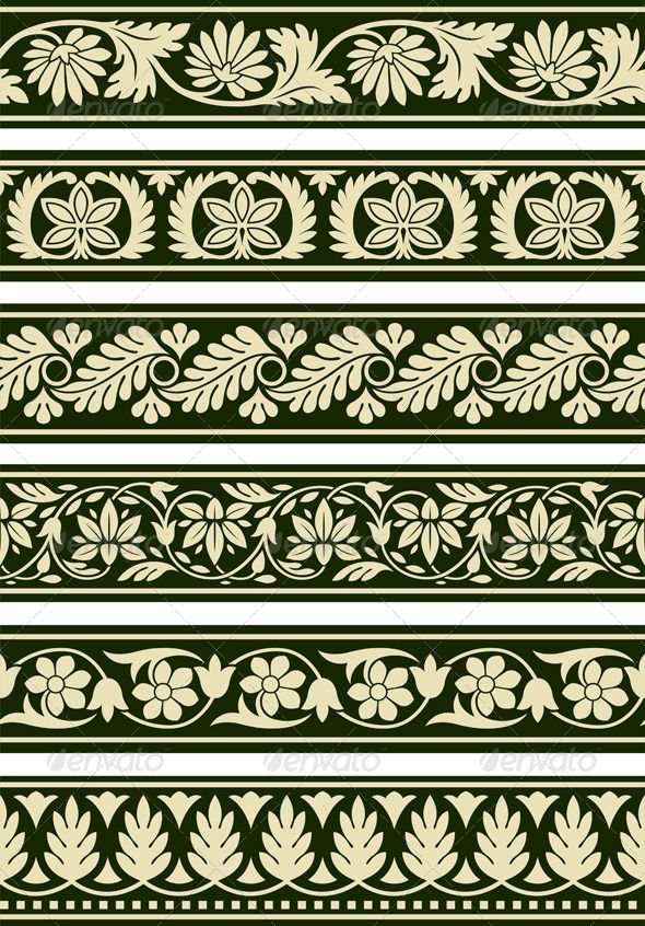 A series of floral borders based on East Indian patterns.