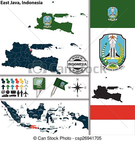 Vector Clipart of Map of East Java, Indonesia.