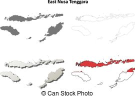 Clipart Vector of East Java blank outline map set.
