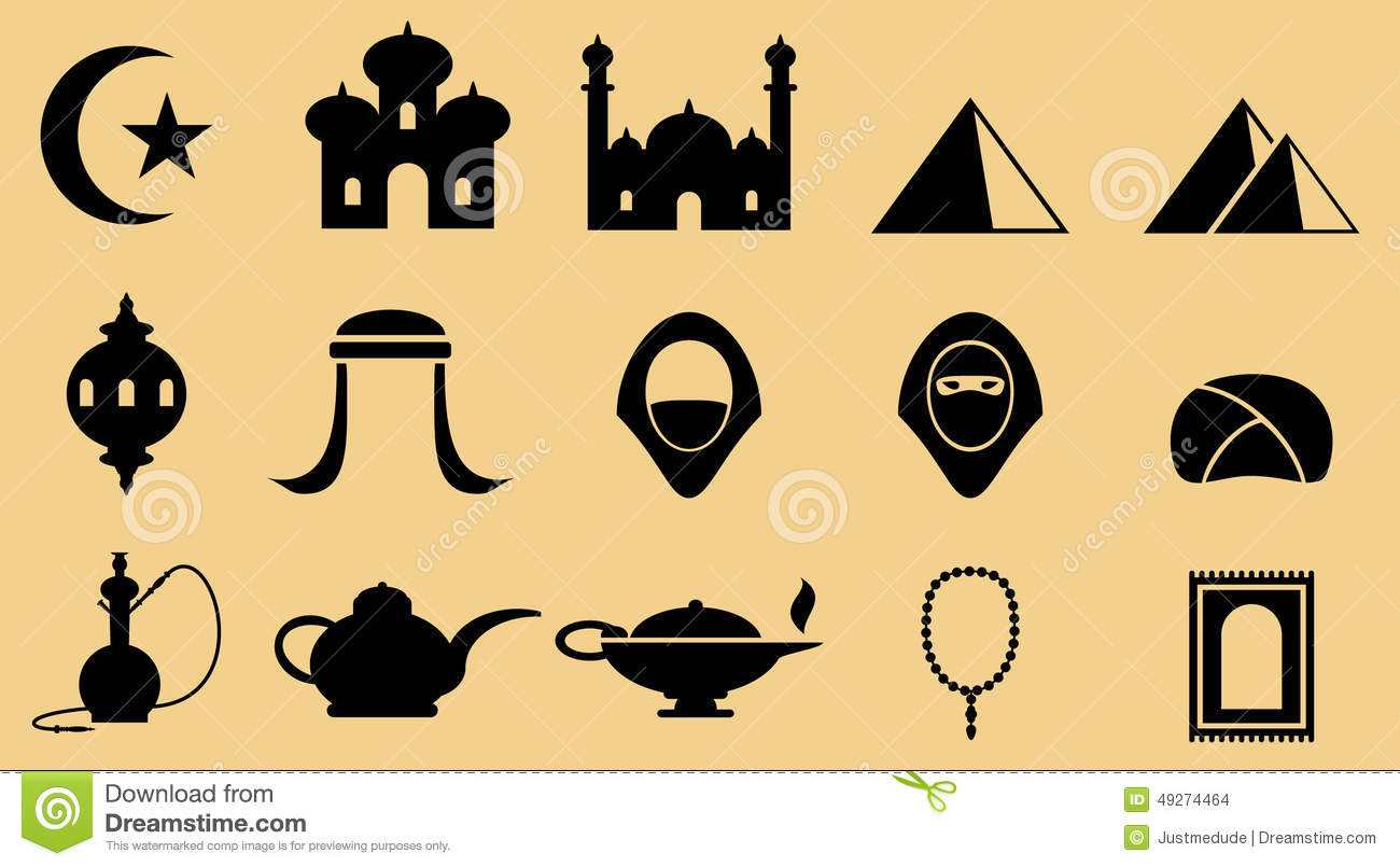 Middle Eastern Icons Stock Vector.
