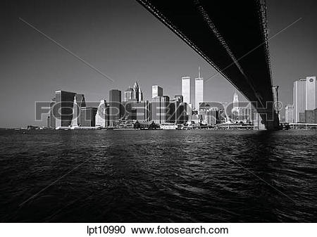 Stock Photography of PRE 9/11 LOWER MANHATTAN SKYLINE WITH.