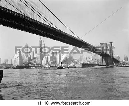 Pictures of 1950S Skyline Of Lower Manhattan With Brooklyn Bridge.