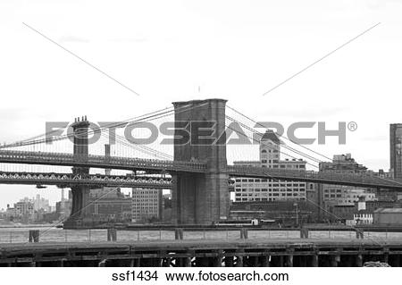 Stock Photo of Manhattan and Brooklyn Bridges looking towards.
