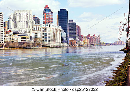 Stock Photos of East River and Lower Manhattan from Roosevelt.