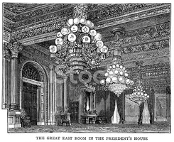The Great East Room, White House stock vectors.