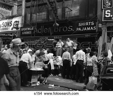 Stock Photo of 1950S Sidewalk Merchants On New York'S Lower East.