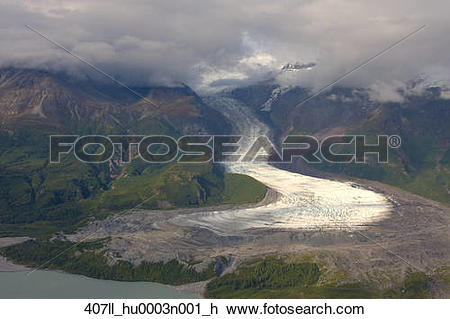 Stock Photo of View of Barrier Glacier entering into the east side.