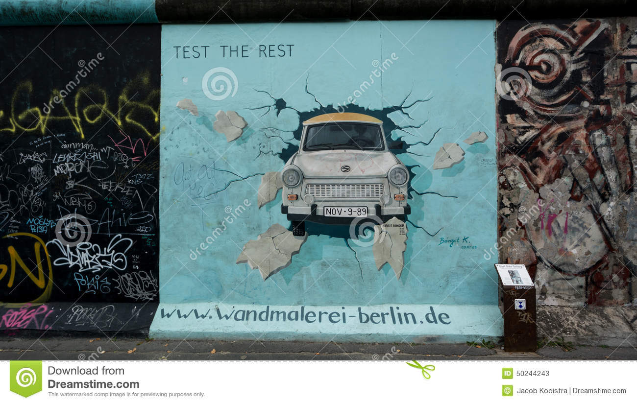 East Side Gallery, Berlin Wall. Trabant Car. Editorial Photography.