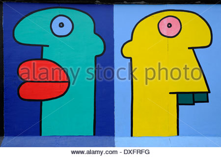 East Side Gallery. Thierry Noir Painting.berlin. Germany Stock.