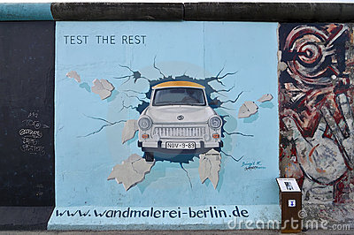 East Side Gallery, Berlin Wall, Freedom Doves Editorial.