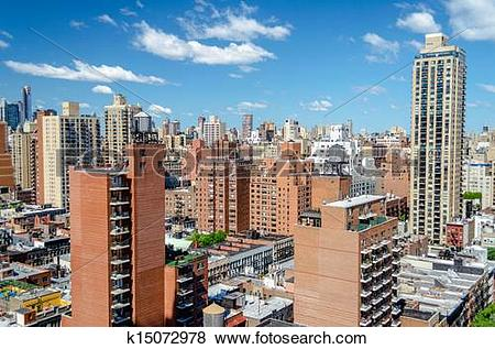 Pictures of New York City, Aerial View of the Upper East Side.