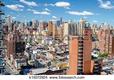 Stock Photo of New York City, Aerial View of the Upper East Side.