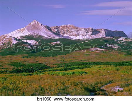 Stock Photography of Sherburne Peak and Yellow Mountain dusted.