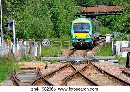 Stock Image of Rye, East Sussex, England, UK. 'Southern' train.