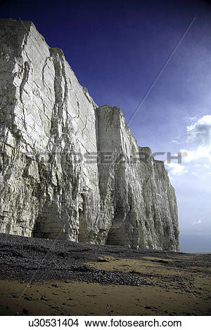 Stock Photo of England, East Sussex, Birling Gap, The sheer white.