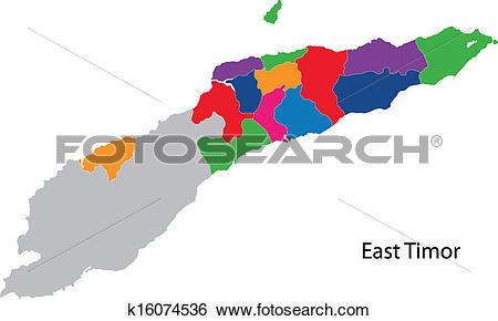 Clip Art of Colorful East Timor map k16074536.