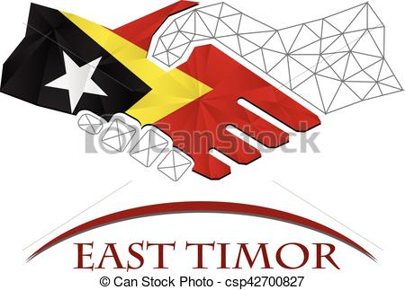 Vector Illustration of Handshake logo made from the flag of East.