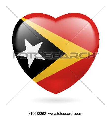 Clipart of Heart icon of East Timor k19038852.