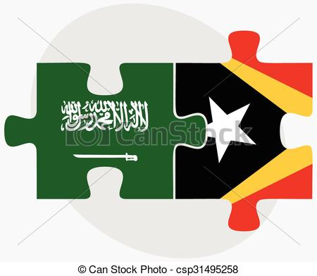Clipart Vector of Saudi Arabia and East Timor Flags in puzzle.