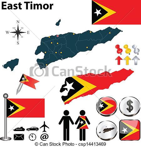 East timor map clipart.