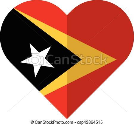 Vector Clip Art of East Timor flat heart flag.