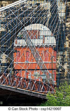 Stock Photographs of Wheeling Suspension Bridge Tower.