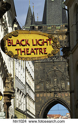 Stock Photo of Black Light Theatre, Charles Street Bridge, East.