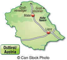 Map east tyrol Vector Clipart Royalty Free. 21 Map east tyrol clip.