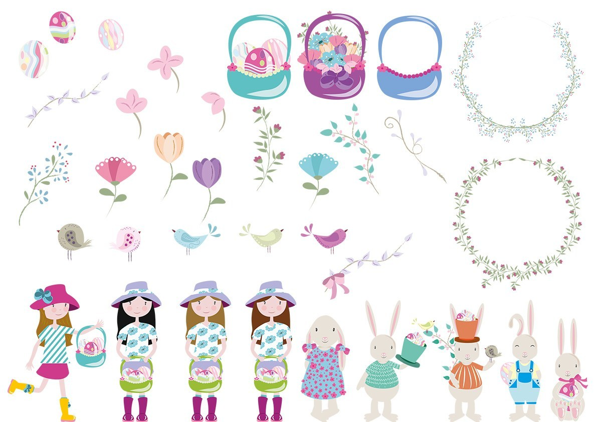 Easter 2018 clipart vector collection.