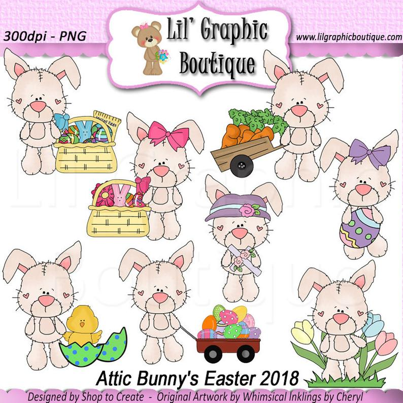 Attic Bunny's Easter 2018 Clip Art Set OOAK Graphics Clipart Digital  scrapbooking clipart printables card making Whimsical Inklings.
