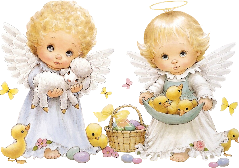 Cute Easter Angels Clipart.