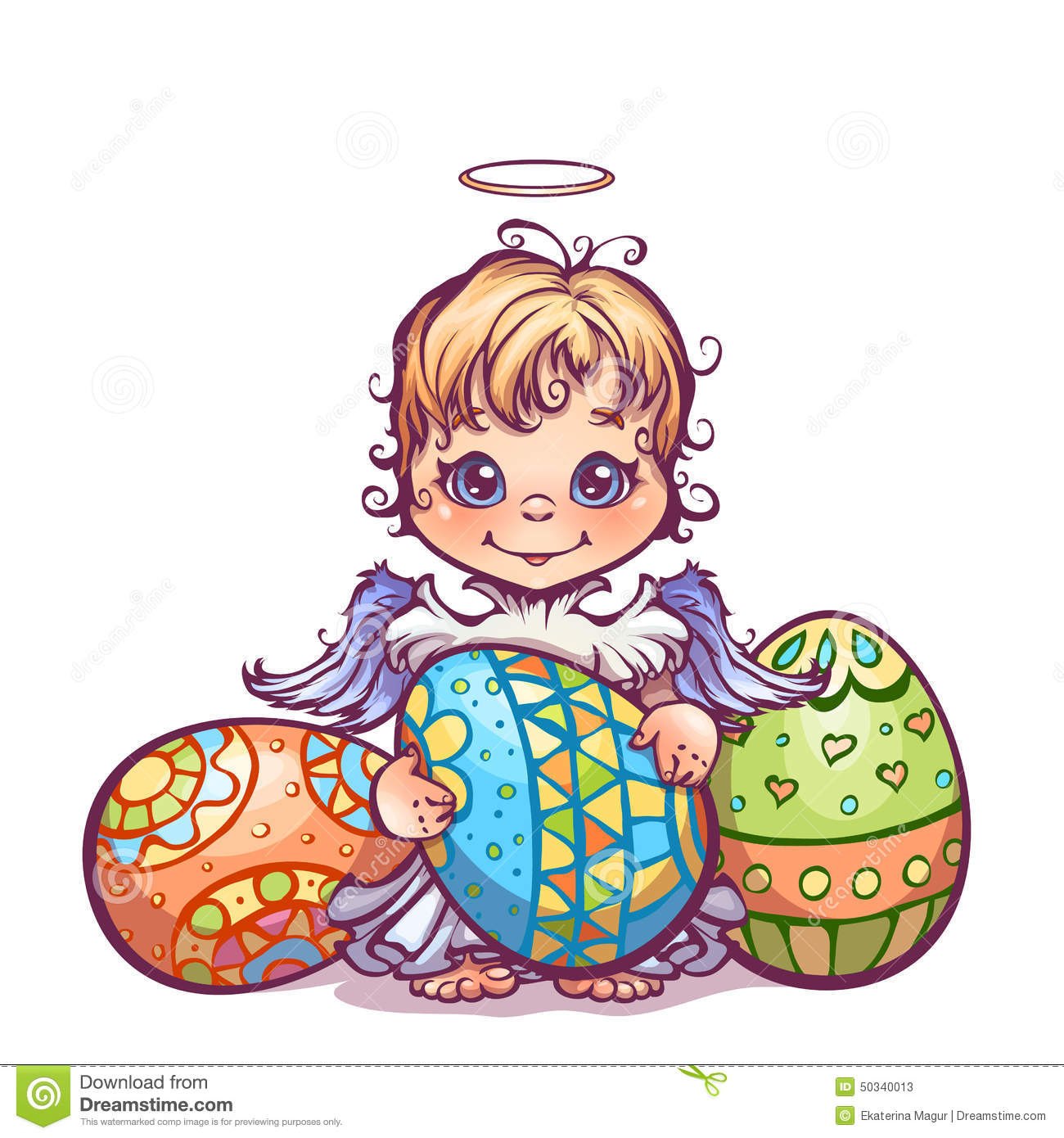 Vector Illustration Of Cute Angel Ant Set Easter Stock Vector.
